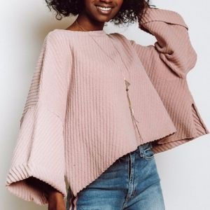 Free People I Can't Wait Oversized Sweater L Rose